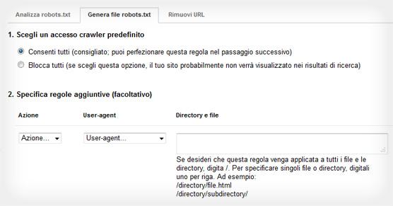 Google Webmaster Tools - Crea file robots.txt