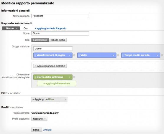 Impostazioni rapporto personalizzato giorno